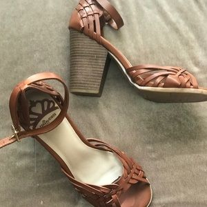 Fergalicious Brown Ankle Strap Chunky Heel Sandals